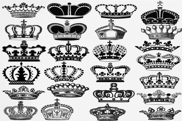 Download Free Crown Silhouette Graphic By Retrowalldecor Creative Fabrica for Cricut Explore, Silhouette and other cutting machines.