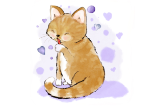 Cute Cat Licking Her Paw Graphic By Jen Digital Art