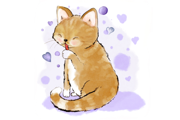 Cute Cat Licking Her Paw Graphic By Jen Digital Art Image 1