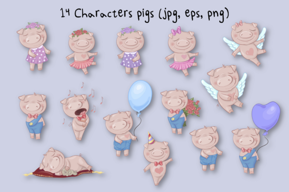 Print on Demand: Cute Pigs Graphic Illustrations By nicjulia - Image 7