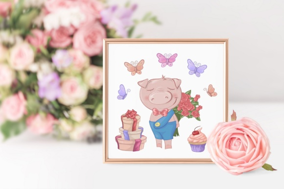 Print on Demand: Cute Pigs Graphic Illustrations By nicjulia - Image 11
