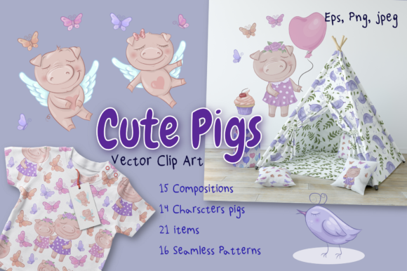 Print on Demand: Cute Pigs Graphic Illustrations By nicjulia - Image 1