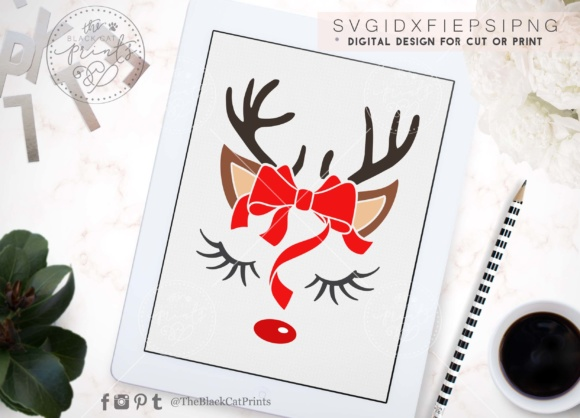 Download Free Cute Raindeer Face Svg Dxf Eps Png Grafik Von Theblackcatprints for Cricut Explore, Silhouette and other cutting machines.