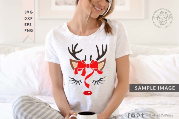 Download Free Cute Raindeer Face Graphic By Theblackcatprints Creative Fabrica for Cricut Explore, Silhouette and other cutting machines.