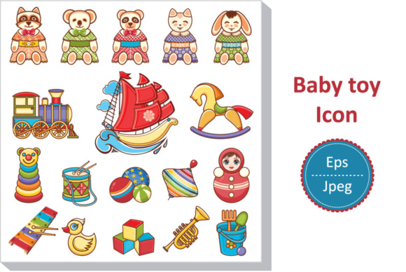 Download Free Cute Animals And Toys For Kids Icon Stickers Graphic By Zoyali for Cricut Explore, Silhouette and other cutting machines.