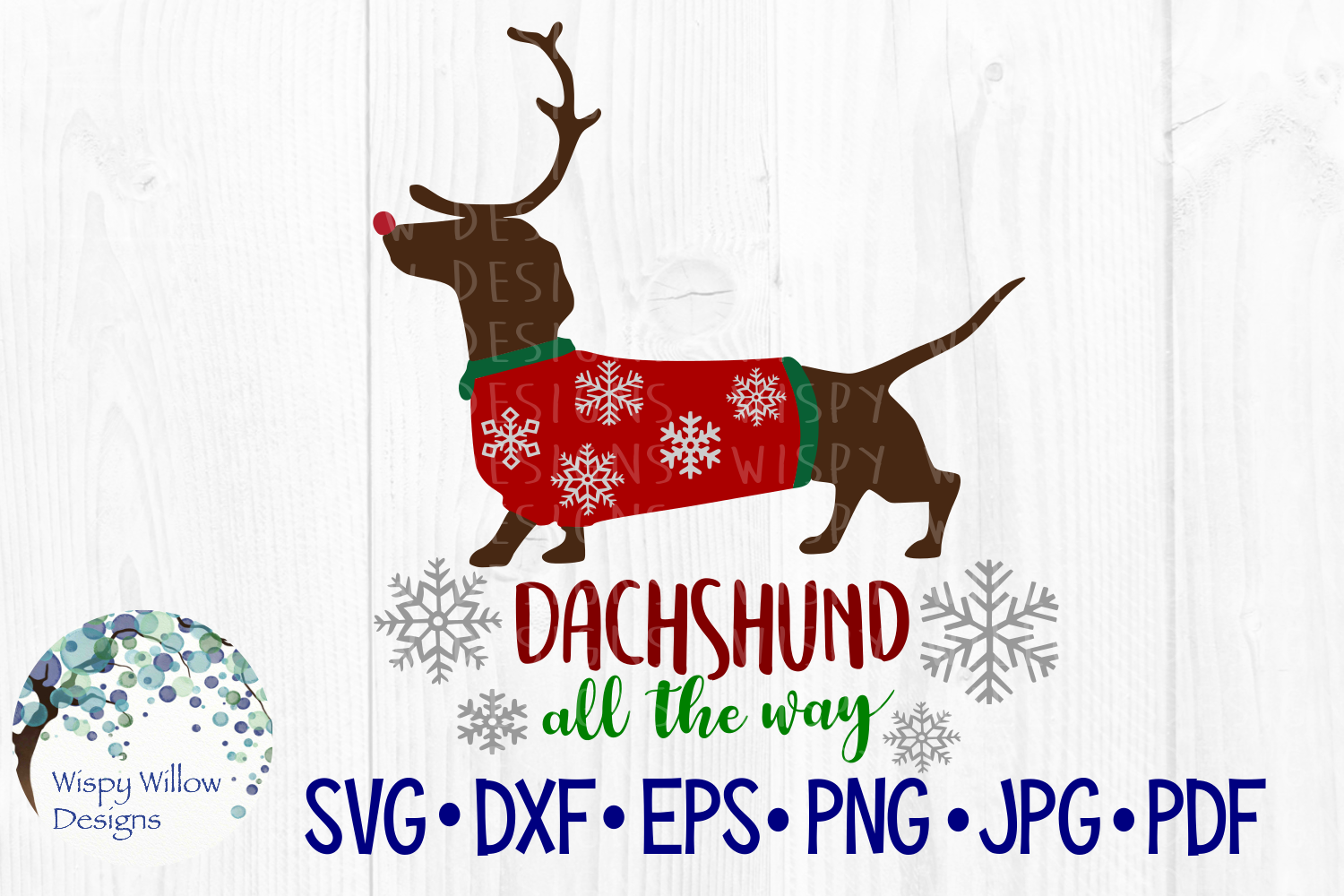 Download Free Dachshund All The Way Weiner Dog Snow Christmas Reindeer SVG Cut Files