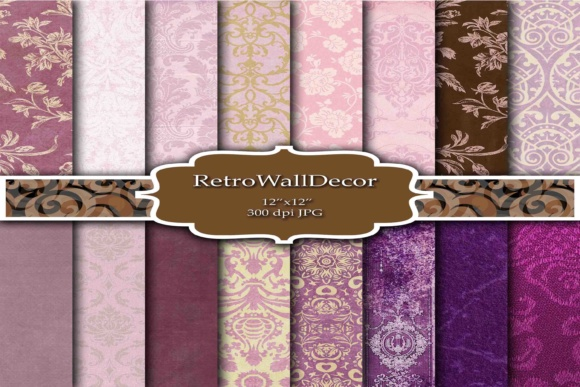 Print on Demand: Damask Digital Papers Graphic Backgrounds By retrowalldecor