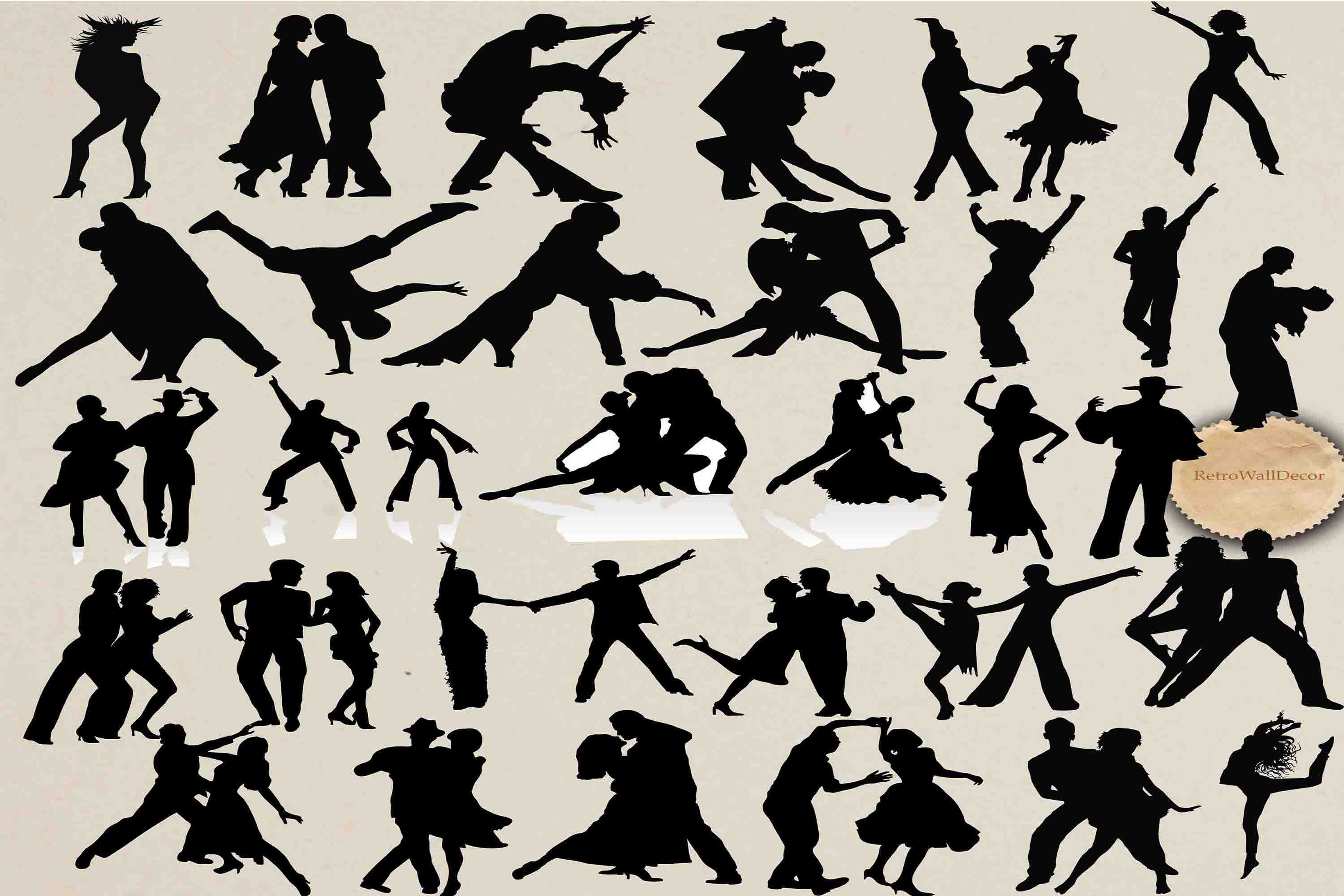 Download Free Dancing Silhouettes Graphic By Retrowalldecor Creative Fabrica for Cricut Explore, Silhouette and other cutting machines.