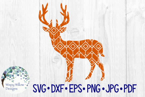 Download Free Deer Geometric Diamond Pattern Graphic By Wispywillowdesigns for Cricut Explore, Silhouette and other cutting machines.