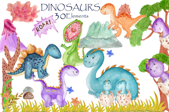 Dinosaur Watercolor Clipart Graphic Illustrations By vivastarkids