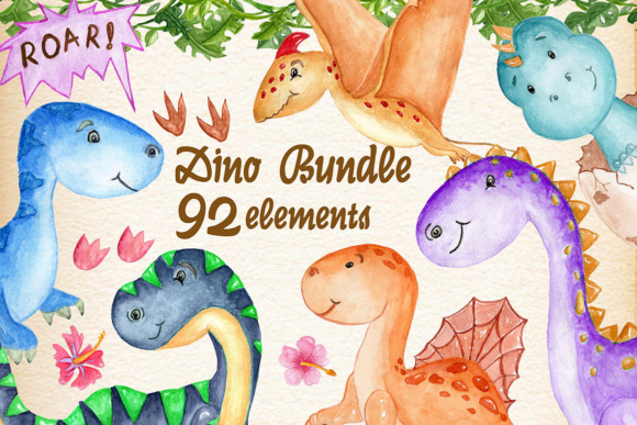 Dinosaurs Clip Art Watercolor Bundle Graphic Illustrations By vivastarkids