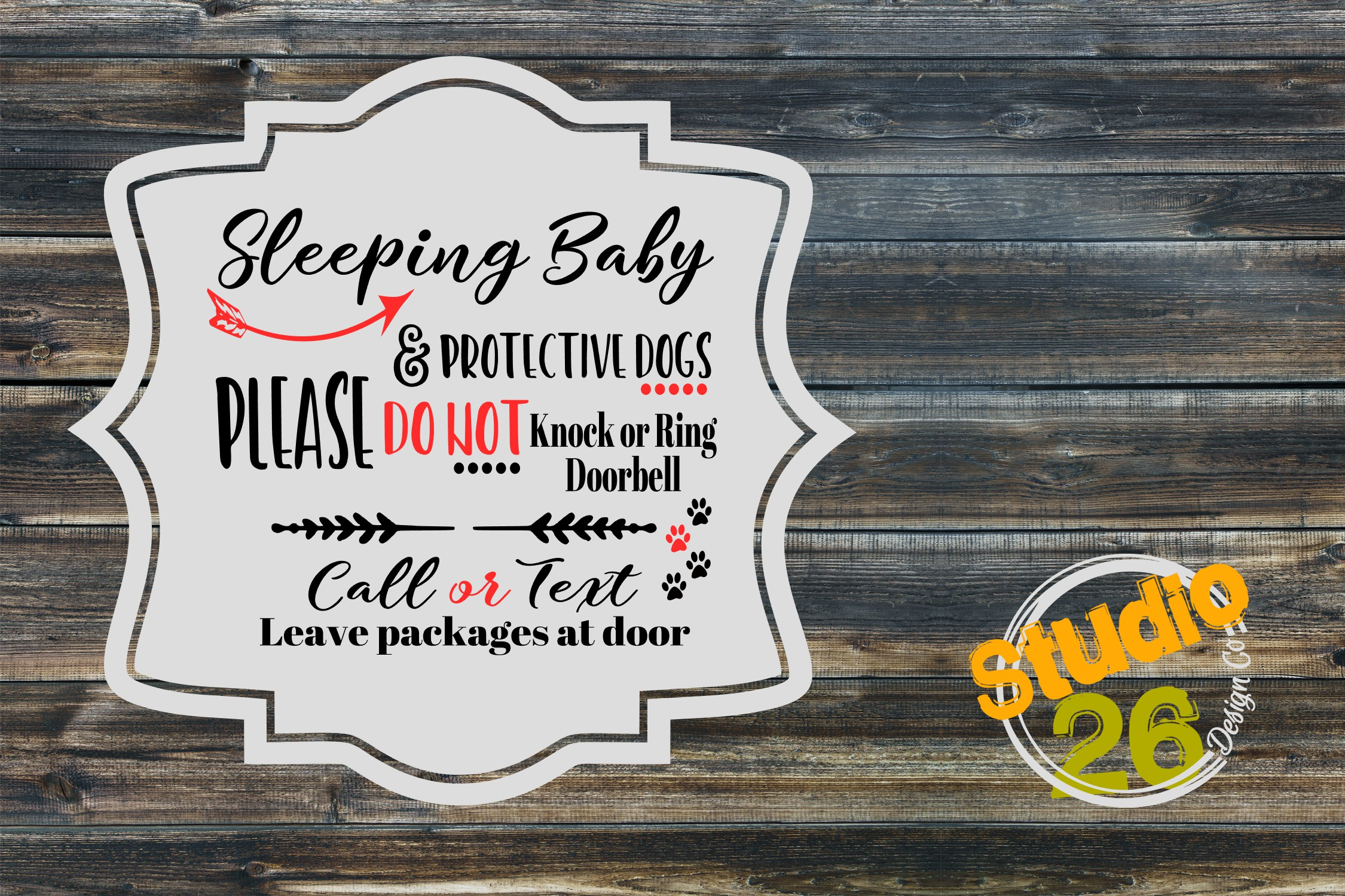 Download Free Do Not Disturb Sleeping Baby Protective Dogs Graphic By Studio for Cricut Explore, Silhouette and other cutting machines.