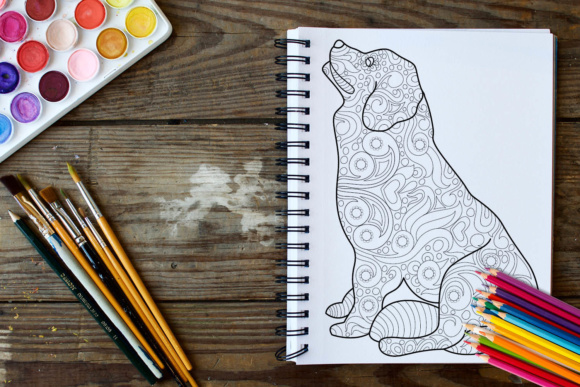 Dogs and Puppies Coloring Book - 30 Unique Coloring Pages Graphic Coloring Pages & Books Adults By ColoringBooks101 - Image 2
