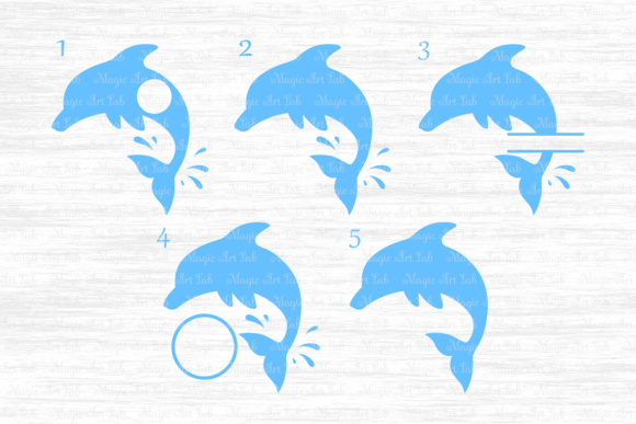 Download Free Dolphin Monograms Graphic By Magicartlab Creative Fabrica for Cricut Explore, Silhouette and other cutting machines.