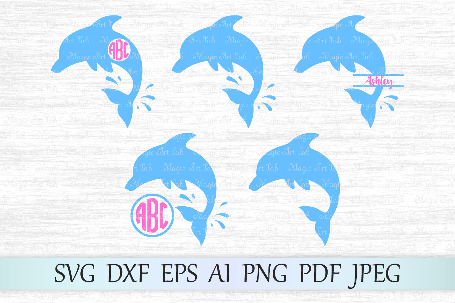 Download Free Dolphin Monograms Svg Grafik Von Magicartlab Creative Fabrica for Cricut Explore, Silhouette and other cutting machines.