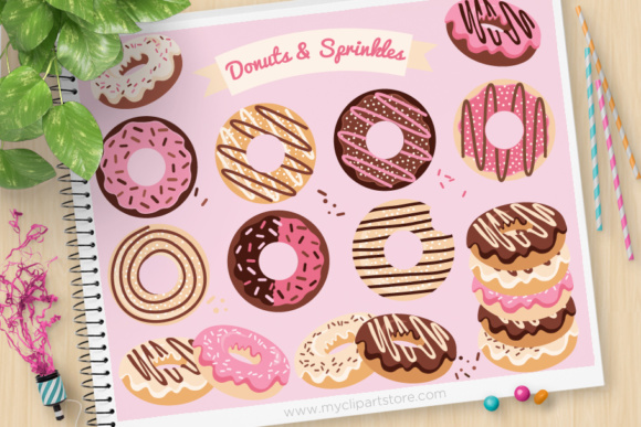 Print on Demand: Donut Sprinkles Clipart Graphic Illustrations By MyClipArtStore