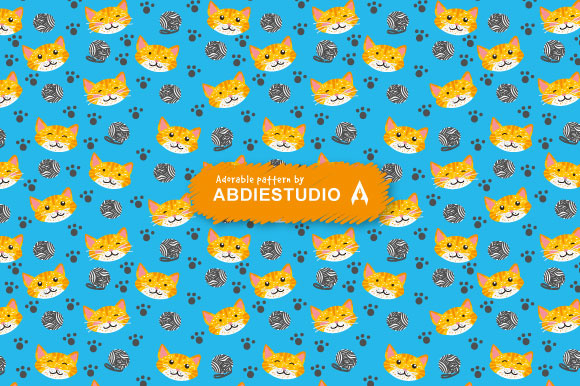 Download Free Doodle Drawing Kitten Cat Seamles Pattern Graphic By Abdie for Cricut Explore, Silhouette and other cutting machines.