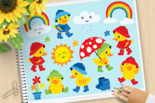 Print on Demand: Ducky Rainy Day Animals Clipart Graphic Illustrations By MyClipArtStore