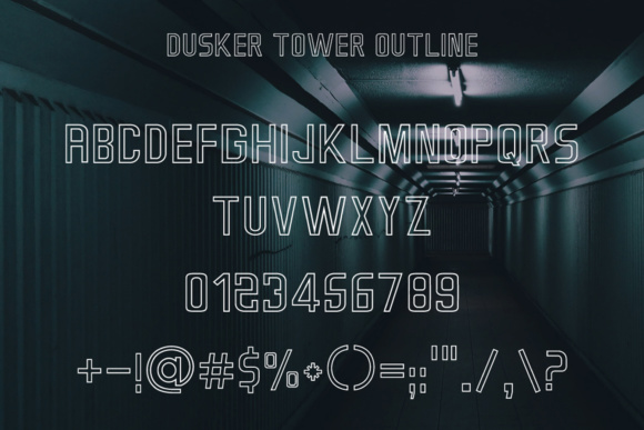 Print on Demand: Dusker Tower Outline Sans Serif Font By Laks Mi