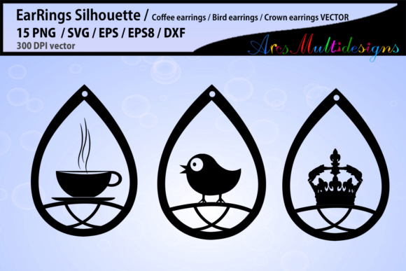 Print on Demand: Earring Svg Silhouette Graphic Crafts By Arcs Multidesigns - Image 2