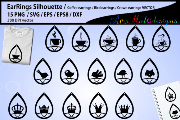 Print on Demand: Earring Svg Silhouette Graphic Crafts By Arcs Multidesigns - Image 1