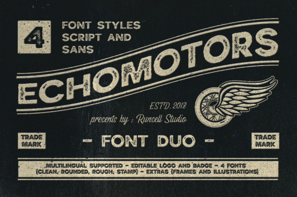Print on Demand: Echomotors Family Display Font By Runsell Graphic