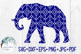 Download Free Elephant Geometric Diamond Pattern Graphic By Wispywillowdesigns for Cricut Explore, Silhouette and other cutting machines.