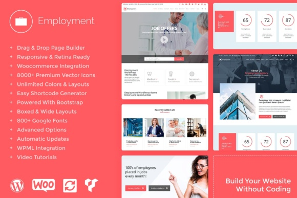 Employment Responsive WordPress Theme Grafik WordPress von Visualmodo WordPress Themes