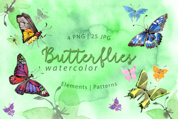 Print on Demand: Exotic Watercolor Butterflies Graphic Illustrations By MyStocks