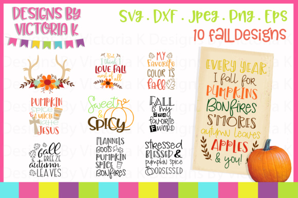 Download Free Fall Bundle Graphic By Designs By Victoria K Creative Fabrica for Cricut Explore, Silhouette and other cutting machines.