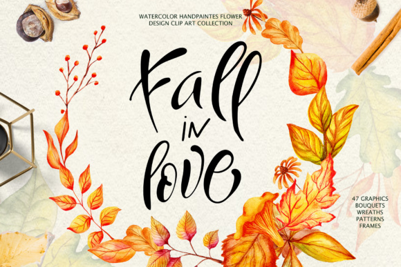 Fall in Love - Watercolor Clipart Graphic Illustrations By tregubova.jul - Image 6