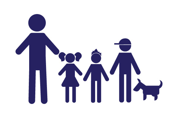 Family Car Decal Dad, 1 Daughter and 2 Sons with Dog Stick Figures Craft Cut File By Creative Fabrica Crafts