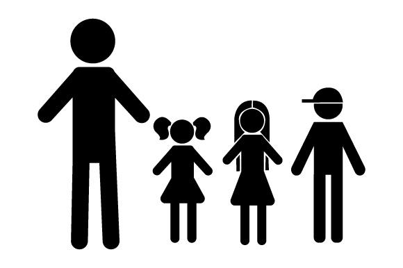 Family Car Decal Dad, 2 Daughters and 1 Son Stick Figures Craft Cut File By Creative Fabrica Crafts - Image 2