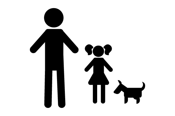 Family Car Decal Dad and 1 Daughter with Dog Stick Figures Craft Cut File By Creative Fabrica Crafts - Image 2