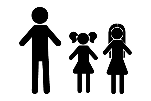 Family Car Decal Dad and 2 Daughters Stick Figures Craft Cut File By Creative Fabrica Crafts - Image 2
