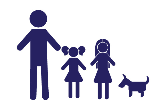 Family Car Decal Dad and 2 Daughters with Dog Stick Figures Craft Cut File By Creative Fabrica Crafts - Image 1