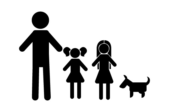 Family Car Decal Dad and 2 Daughters with Dog Stick Figures Craft Cut File By Creative Fabrica Crafts - Image 2