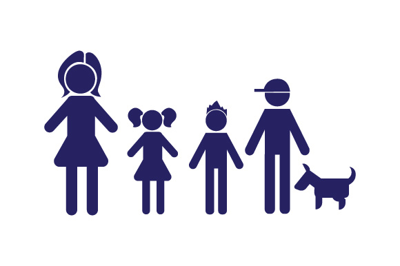 Family Car Decal Mom, 1 Daughter and 2 Sons with Dog Stick Figures Craft Cut File By Creative Fabrica Crafts - Image 1