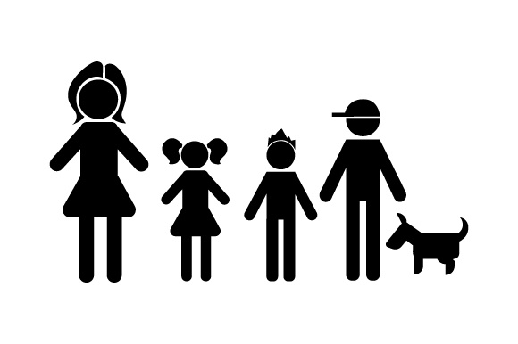 Family Car Decal Mom, 1 Daughter and 2 Sons with Dog Stick Figures Craft Cut File By Creative Fabrica Crafts - Image 2