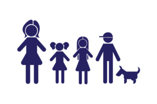 Family Car Decal Mom, 2 Daughters and 1 Son with Dog Stick Figures Craft Cut File By Creative Fabrica Crafts