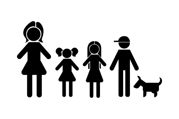 Family Car Decal Mom, 2 Daughters and 1 Son with Dog Stick Figures Craft Cut File By Creative Fabrica Crafts - Image 2