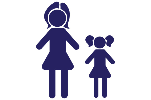 Family Car Decal Mom and 1 Daughter Stick Figures Craft Cut File By Creative Fabrica Crafts