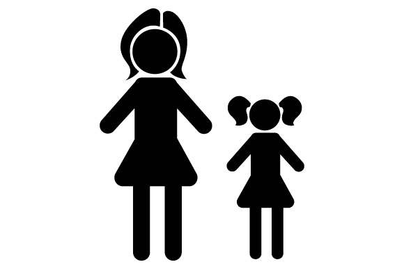 Family Car Decal Mom and 1 Daughter Stick Figures Craft Cut File By Creative Fabrica Crafts - Image 2