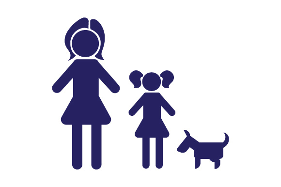 Family Car Decal Mom and 1 Daughter with Dog Stick Figures Craft Cut File By Creative Fabrica Crafts