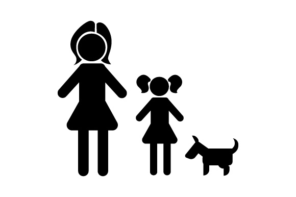 Family Car Decal Mom and 1 Daughter with Dog Stick Figures Craft Cut File By Creative Fabrica Crafts - Image 2