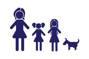 Family Car Decal Mom and 2 Daughters with Dog Stick Figures Craft Cut File By Creative Fabrica Crafts