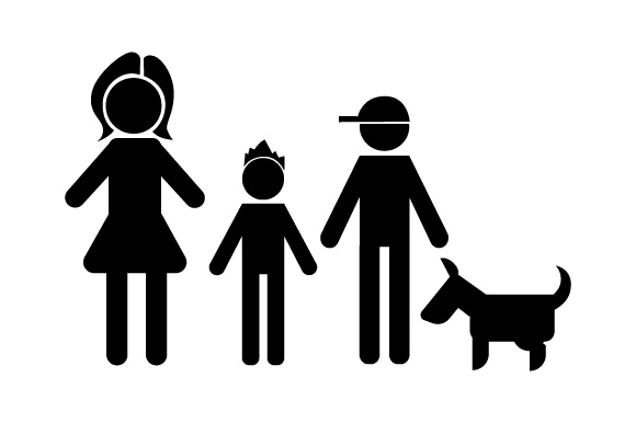 Family Car Decal Mom and 2 Sons with Dog Stick Figures Craft Cut File By Creative Fabrica Crafts - Image 2