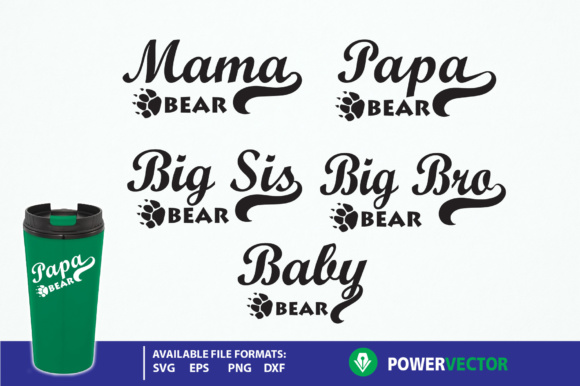 Download Free Family Bear Mama Bear Papa Bear Graphic By Powervector for Cricut Explore, Silhouette and other cutting machines.