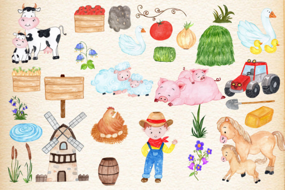 Farm Animals, Watercolor Clipart Graphic Illustrations By vivastarkids