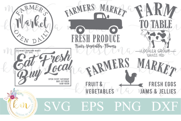 Farmers Market Bundle Graphic Crafts By Kristina Marie Design